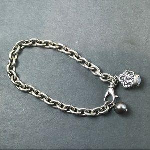 Vintage Sterling Silver Link Bracelet with Charm